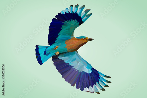 Indian Roller Bird in Lowpoly Illustration