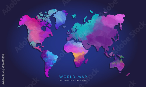 Obraz Vector hand drawn watercolor world map isolated on dark background - fototapety do salonu