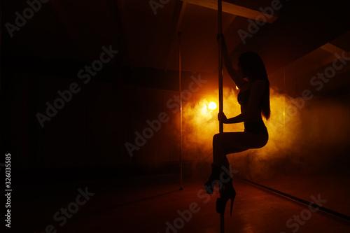 Cuadros en Lienzo silhouette of a beautiful girl who dance floor dance