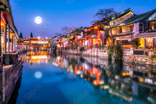 Foto Xitang ancient town rivers and ancient buildings and houses..