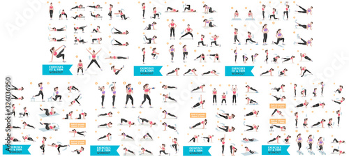 Woman workout fitness, aerobic and exercises Fototapete