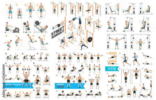 Leinwand Poster Dumbbell Exercises and Workouts Weight Training