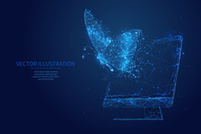 Butterfly Flies Out From Pc Monitor Screen. Free Internet Or Freelance Work Digital Concept. Freedom. Low Poly Wireframe Vector Illustration. Polygons, Particles And Connected Dots On Blue Background