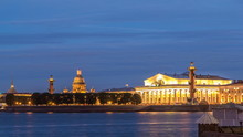 View Of The Old Stock Exchange Timelapse , Rastralnye Column, St. Isaac's Cathedral. St. Petersburg Russia