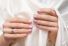 Pink Nail Design. Female Hands...