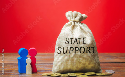 Money bag with the word State support and family Canvas Print