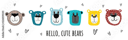 cute bears.vector illustration hand-drawn in cartoon style.bear faces isolated on a white background.suitable for postcards,children s clothing,fabric design,stickers, posters,mug or t-shirt design.