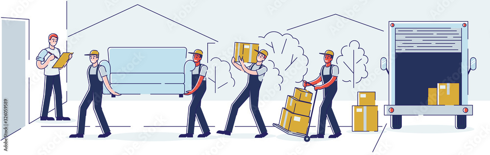 Fototapeta Relocation, Professional Delivery Company Loader Service and Moving to New House Concept. Workers Carry Cardboard Boxes and Furniture Using Trolley and Truck Cartoon Flat Vector Illustration, Line Art
