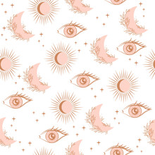 Mystical Seamless Pattern With...