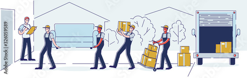 Fototapeta Relocation, Professional Delivery Company Loader Service and Moving to New House Concept. Workers Carry Cardboard Boxes and Furniture Using Trolley and Truck Cartoon Flat Vector Illustration, Line Art obraz