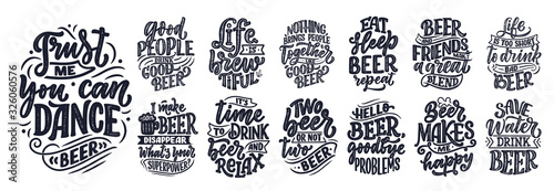 Fototapeta Set with lettering quotes about beer in vintage style. Calligraphic posters for t shirt print. Hand Drawn slogans for pub or bar menu design. Vector obraz