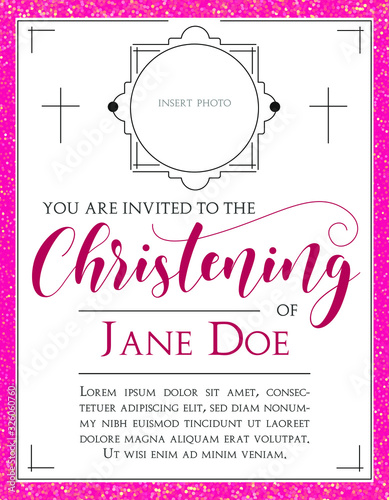 Girls Christening Invitation with beautiful lettering Canvas Print