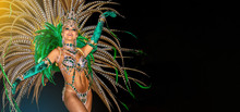 Brazilian Wearing Samba Costume. Beautiful Brazilian Woman Wearing Colorful Costume And Smiling During Carnaval Street Parade In Brazil.