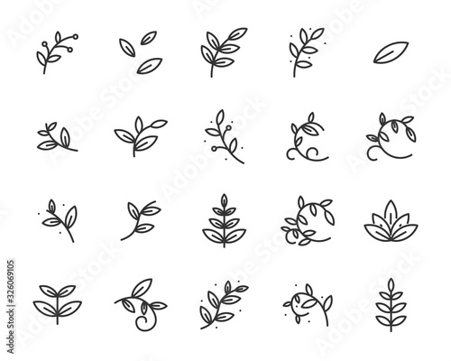 set of sprout icons, leaf, plant, nature, environment Wall mural