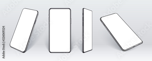 Photo Realistic mobile phones in different angles isolated, Perspective view cell gadget with empty screen for showing ui ux app design or website