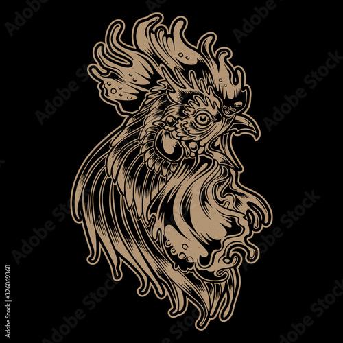 rooster fighting thailand chicken vector 3 Fotobehang