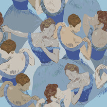Ballerinas On A Light Blue Bac...