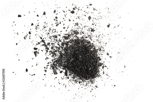 Photo Charcoal or coal carbon texture hi resolution isolated on white background