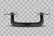 Large Clamp Compression Tool. Clamp Instrument. Conceptual Vector Illustration Iaolated On Transparent Background.