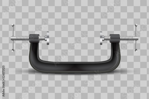 Obraz Large clamp compression tool. Clamp instrument. Conceptual vector illustration iaolated on transparent background. - fototapety do salonu