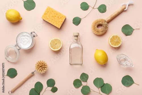 Ingredients - essential oil, lemon and washing soda, vinegar Tapéta, Fotótapéta