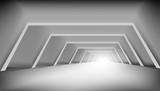 Fototapeta Perspektywa 3d - 3D Abstract White Clear Light Corridor Interior