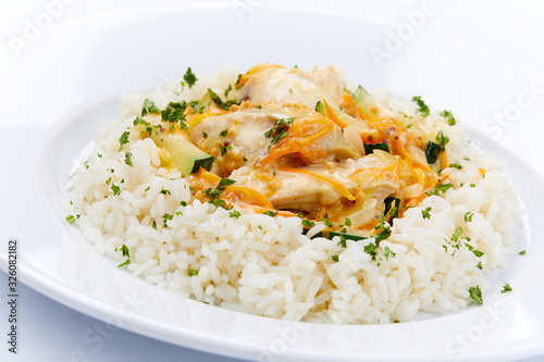 Fototapeta chicken with rice and herbs obraz