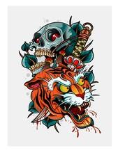Japanese Tiger Demon Tattoo Wi...