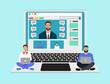 Vector of a professional advisor man coaching teaching online