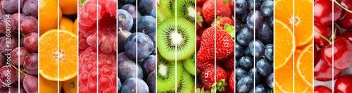 Fototapeta Background of fruits. Mixed ripe fruits and berries obraz