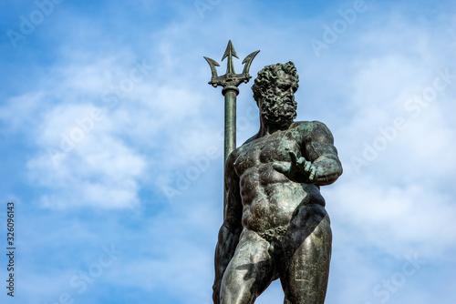 Closeup of the bronze statue of Neptune (1566), Roman God, fountain in Piazza del Nettuno, Bologna, Emilia-Romagna, Italy, Europe Wallpaper Mural