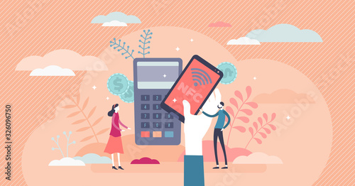 Photo NFC mobile payment technology concept, tiny person vector illustration