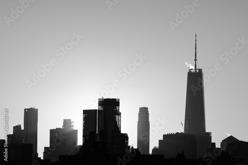 Black and White Lower Manhattan Skyline in New York City during Sunset with Silhouettes of Skyscrapers