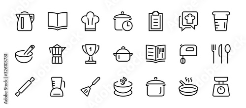 Fototapeta Set of icons for cooking and kitchen, vector lines, contains icons such as a knife, saucepan, boiling time, mixer, scales, recipe book. Editable stroke, perfect 480x480 pixels, white background obraz