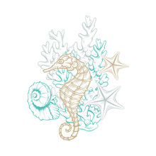Ocean And Sea Marine Line Art, Vector Seahorse, Starfish And Seashell In Coral Reef. Golden Sketch Line, Marine Life Artwork Decoration, Hatching Style Drawing Graphics, Isolated Undersea Elements