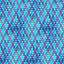 Watercolor Stripe Diagonal Plaid Seamless Pattern. Blue And Purple Stripes Background