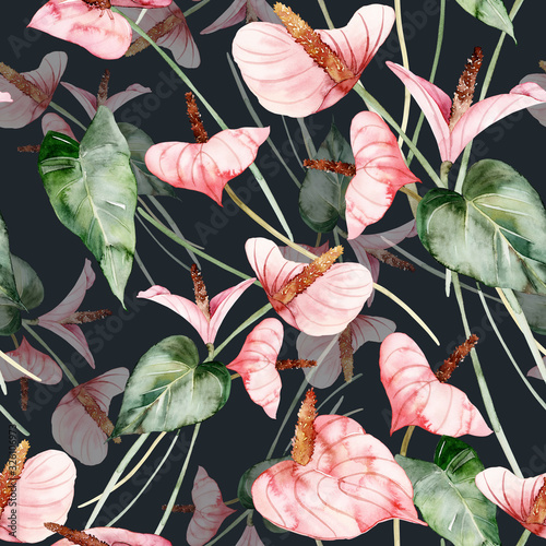 Photo Seamless pattern with anthuriums watercolor painting