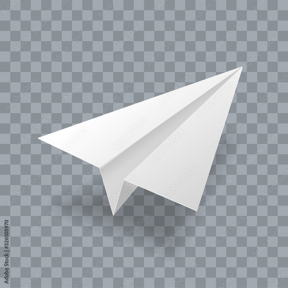 Fototapeta Paper plane vector realistic 3D model. White paper airplane jet isolated on transparent background