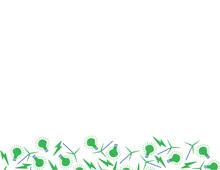 Eco Friendly Green Solar Electricity Green Blue White Pattern Bottom Frame, Lightning, Wind Turbine And Bulb