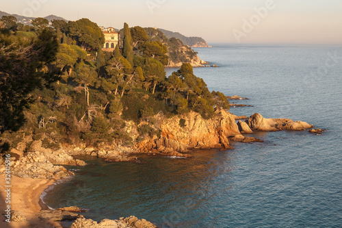 Canvastavla Beautiful Seascepe at Sunset in Lloret de Mar, Costa Brava, Catalonia