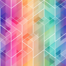 Rainbow Color Mosaic Seamless Pattern