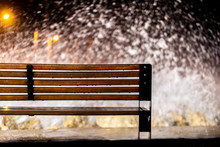 Bench Near The Sea In Storm At...