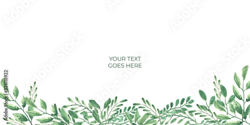Photo Grean leaf leaves floral watercolor on white background