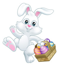 Easter Bunny Rabbit Cartoon Character Holding A Basket Full Of Painted Easter Eggs