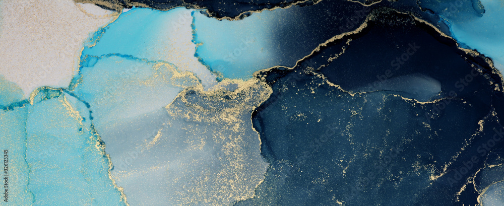 Fototapeta Abstract painting blots background. Marble texture. Alcohol ink colors.