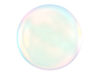 3d crystal ball pink blue gradient colors isolated on white background. Abstract bubble glossy pastel 3d geometric shape object illustration render.