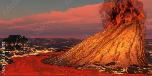 Hawaii Volcano - Plumes of smoke belch from the mouth of a newly formed volcano causing a huge eruption on the Hawaii island Tablou Canvas