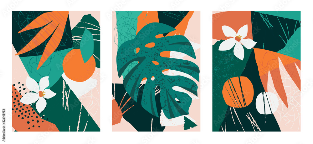 Fototapeta Set of collages contemporary floral. Modern exotic jungle fruits and plants illustration in vector.