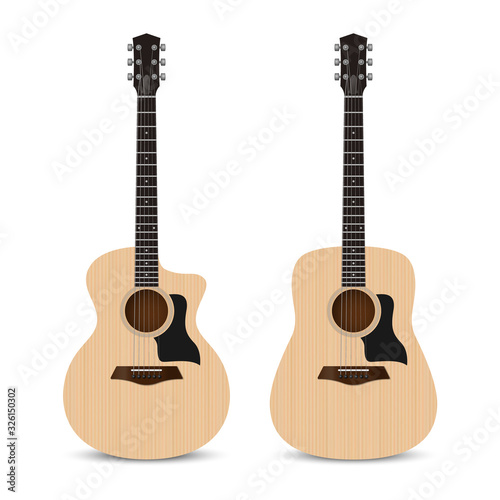 Realistic acoustic guitar grand auditorium and dreadnought shape isolated on whi Canvas Print