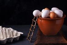 Fresh Chicken Eggs In A Clay P...